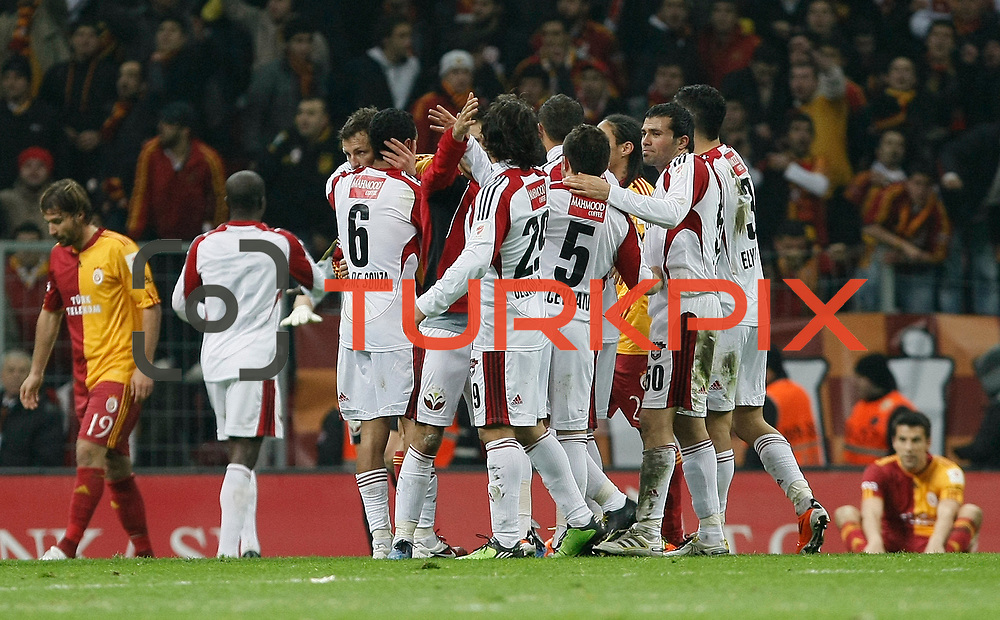 Gaziantepspor's players celebrate victory during their Turkey Cup Quarter final matchday 2 Galatasaray between Gasiantepspor at the AliSamiYen Turk Telekom Arena in Istanbul Turkey on Wednesday 02 March 2011. Photo by TURKPIX