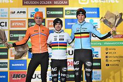 December 26, 2018 - Heusden-Zolder, BELGIUM - Dutch Maik Van Der Heijden, Belgian Eli Iserbyt and Belgian Timo Kielich pictured on the podium after the men under 23 race of the seventh stage (out of nine) in the World Cup cyclocross, Wednesday 26 December 2018 in Heusden-Zolder, Belgium. BELGA PHOTO DAVID STOCKMAN (Credit Image: © David Stockman/Belga via ZUMA Press)