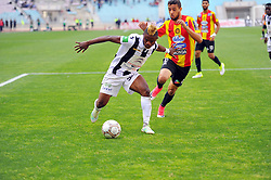 May 7, 2017 - Rades, Tunisia - Sokary Kingsley (20) CSS Nigerian player and Iheb M'barki (24) of the EST in action during the match between EST vs CSS..Match of the 9th day of play-offs of the Tunisian championship between the sporting esperance of Tunis (EST) and the sports club of Sfax (CSS) at Rades stadium. (Credit Image: © Chokri Mahjoub via ZUMA Wire)