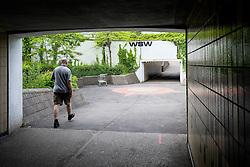 A man walks through a pedestrian underpass in Basildon. Essex