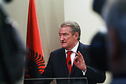 Albania's Prime Minister Sali Berisha during a press conference in Pristina, on Monday, October 6, 2009. This is his first visit to Kosovo, since Kosovo's declaration of independence. PM. Berisha (in picture), met Kosovo's President Fatmir Sejdiu, Prime Minister Hashim Thaci, head of Kosovo's Assembly Jakup Krasniqi and other leading political party and business figures. (Photo/ Vudi Xhymshiti)