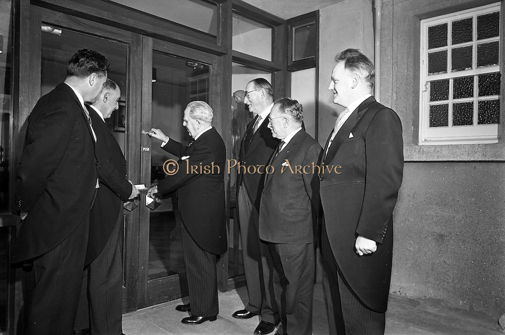 11/02/1963<br /> 02/11/1963<br /> 11 February 1963<br /> Official opening and Blessing of the National Medical Rehabilitation Centre, Our Lady of Lourdes Hospital, Rochestown Avenue, Dun Laoghaire, Co. Dublin. Picture shows Tánaiste Sean McEntee, (3rd from left), Minister for Health officially opening the centre. Also present (l-r): Noel J. Burke, Chairman; Mr Leonard, Architect; Dr. E.T. Freeman; Dr Ludwig Guttman, Medical Director, National Spinal Injury Section, Stoke Mandeville and Dr. T. Gregg.
