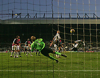 Photo: Andrew Unwin.<br /> Newcastle United v West Ham United. The Barclays Premiership. 20/01/2007.<br /> Newcastle's Obafemi Martins (R) tries to score with a diving header.