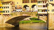 Tourists on Ponte Vecchio, Florence, Tuscany, Italy