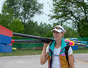 Plovdiv, Bulgaria, 9th May 2019, FISA, Rowing World Cup 1,  Victoria OPITZ, USA, carries Oars.<br /> [© Peter SPURRIER]