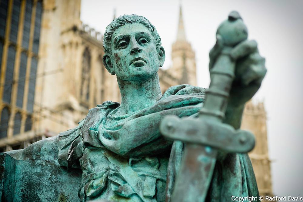 Statue of Constantine, Roman Emperor, outside of York Minster, York, England