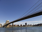 dramatic view of the Brooklyn bridge seen from the Brooklyn site New York City