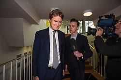 © London News Pictures. 16/05/2015. Tristram Hunt being questioned by a television crew as he arrives at Progress Annual Conference held at TUC Congress House in London to discuss the labour leadership race following a heavy defeat in the recent general election..  Photo credit: Ben Cawthra/LNP