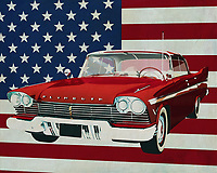 Plymouth brought last century beautiful and for that time progressive cars on the American market. This Plymouth Belvedere Sport Sedan shows you immediately what creativity there was in those golden fifties of last century. Beautifully streamlined with its typical fins, the Plymouth Belvedere Sport Dean is a real beauty.<br /> <br /> This painting of the Plymouth Belvedere Sport Sedan, built in 1957, with the American flag in the background can be purchased in various sizes and printed on canvas as well as wood and metal. You can also have the painting finished with an acrylic plate over it which gives it more depth. -<br /> -<br /> BUY THIS PRINT AT<br /> <br /> FINE ART AMERICA<br /> ENGLISH<br /> https://janke.pixels.com/featured/plymouth-belvedere-sport-sedan-1957-with-flag-of-the-usa-jan-keteleer.html<br /> <br /> <br /> WADM / OH MY PRINTS<br /> DUTCH / FRENCH / GERMAN<br /> https://www.werkaandemuur.nl/nl/shopwerk/Plymouth-Belvedere-Sport-Sedan-1957-met-vlag-van-de-V-S-/665460/132?mediumId=1