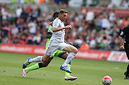 Angel Rangel of Swansea city in action. Barclays Premier league match, Swansea city v Manchester city at the Liberty Stadium in Swansea, South Wales on Sunday 15th May 2016.<br /> pic by Andrew Orchard, Andrew Orchard sports photography.