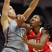HARTFORD, CONNECTICUT- DECEMBER 19:  Kiara Lewis #23 of the Ohio State Buckeyes drives to the basket defended by Kia Nurse #11 of the Connecticut Huskies during the UConn Huskies Vs Ohio State Buckeyes, NCAA Women's Basketball game on December 19th, 2016 at the XL Center, Hartford, Connecticut (Photo by Tim Clayton/Corbis via Getty Images)