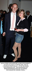 Actress CAMILLA RUTHERFORD and MR RUFUS ABBOTT at a party in London on 12th May 2004.PUC 43