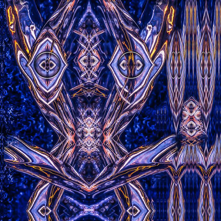 """Inebriated"", derivative image created from a photo of shoreline ice, June, midnight light, Kotzebue Sound, AK, USA"