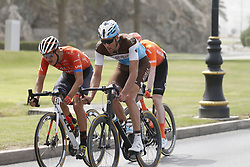 February 21, 2019 - Matrah Corniche, OMAN - Belgian Stijn Vandenbergh of AG2R La Mondiale, Belgian Nathan Van Hooydonck of CCC Team and Canadian Adam de Vos of Rally UHC Cycling pictured in action during the sixth stage of the Oman cycling Tour 2019, 135,5 km from Al Mouj Muscat to Matrah Corniche, Oman, Thursday 21 February 2019. This years Tour of Oman is taking place from 16 to 21 February...BELGA PHOTO YUZURU SUNADA FRANCE OUT (Credit Image: © Yuzuru Sunada/Belga via ZUMA Press)