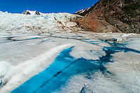 Aerial view, meltwater pools on the Mendenhall Glacier, near Juneau, Alaska USA.