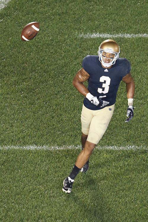 Notre Dame wide receiver Michael Floyd (#3) scores touchdown in fourth action during NCAA football game between Notre Dame and South Florida.  The South Florida Bulls defeated the Notre Dame Fighting Irish 23-20 in game at Notre Dame Stadium in South Bend, Indiana.