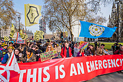 Entrances to Parliament Square are blocked -Protestors from Extintion Rebellion block several (Hyde Park, Oxford Cuircus, Piccadilly Circus, Warterloo Bridge and Parliament Square) junctions in London as part of their ongoing protest to demand action by the UK Government on the 'climate chrisis'. The action is part of an international co-ordinated protest.