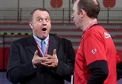Philippe Gregoire and Coach of Metz Francois Bertrand  at handball match of Round 5 of Champions League between RK Krim Mercator and Metz Handball, France, on January 9, 2010 in Kodeljevo, Ljubljana, Slovenia. (Photo by Vid Ponikvar / Sportida)