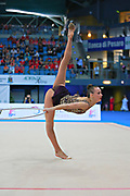 Rizatdinova Anna during final at hoop in Pesaro World Cup at Adriatic Arena on April 12, 2015. Anna was born July 16, 1993 in Simferopol, she is a Ukrainian individual rhythmic gymnast.