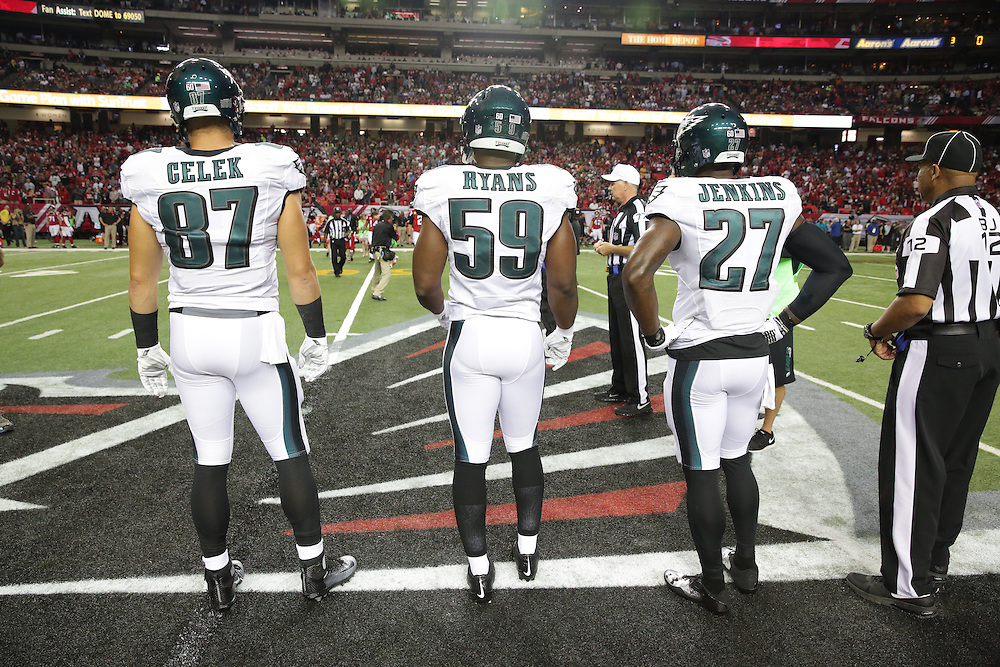 Brent Celek, DeMeco Ryans, Malcolm Jenkins, Philadelphia Eagles at Atlanta Falcons; Monday Night Football