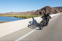 Kevin Waters of England riding his 1915 Sunbeam 3 1/2 hp Motor Bicycle by Lake Havasu during the Motorcycle Cannonball Race of the Century. Stage-14 ride from Lake Havasu CIty, AZ to Palm Desert, CA. USA. Saturday September 24, 2016. Photography ©2016 Michael Lichter.