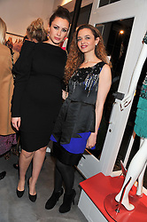 Left to right, CAMILLA AL FAYED and LAMA EL MOATASSEM at a dinner hosted by Carmen Haid at Atelier Mayer, 47 Kendal Street, London W2 on 21st February 2012.