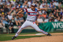 May 6, 2018 - Chicago, IL, U.S. - CHICAGO, IL - MAY 06: Chicago White Sox relief pitcher Luis Avilan (70) pitches during a game between the Minnesota Twins the Chicago White Sox on May 6, 2018, at Guaranteed Rate Field, in Chicago, IL. (Photo by Patrick Gorski/Icon Sportswire) (Credit Image: © Patrick Gorski/Icon SMI via ZUMA Press)