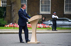 © Licensed to London News Pictures. 21/06/2016. London, UK. British prime minister DAVID CAMERON delivers a speech on the upcoming EU referendum from outside 10 Downing Street in London.  The UK is due to go to the ballot box on June 23rd to decide on it's membership of the EU. Photo credit: Ben Cawthra/LNP