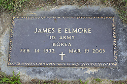 31 August 2017:   Veterans graves in Park Hill Cemetery in eastern McLean County.<br /> <br /> James E Elmore  US Army Korea  Feb 14 1932  Mar 19 2003