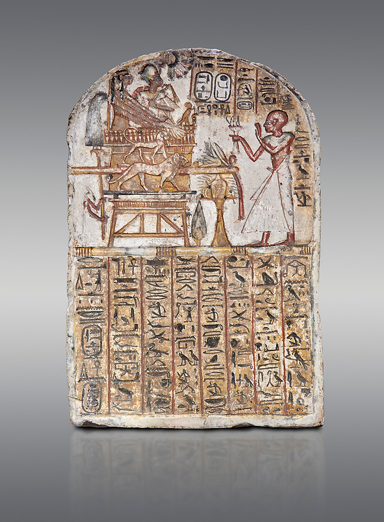 Ancient Egyptian Stele of Amenemope dedicated to Amenhotep I and Ahmose-Nefertari, limestone, New Kingdom, 19th Dynasty, (1279-1213 BC), Deir el-Medina, Drovetti cat 1452. Egyptian Museum, Turin. Grey background. .<br /> <br /> If you prefer to buy from our ALAMY PHOTO LIBRARY  Collection visit : https://www.alamy.com/portfolio/paul-williams-funkystock/ancient-egyptian-art-artefacts.html  . Type -   Turin   - into the LOWER SEARCH WITHIN GALLERY box. Refine search by adding background colour, subject etc<br /> <br /> Visit our ANCIENT WORLD PHOTO COLLECTIONS for more photos to download or buy as wall art prints https://funkystock.photoshelter.com/gallery-collection/Ancient-World-Art-Antiquities-Historic-Sites-Pictures-Images-of/C00006u26yqSkDOM