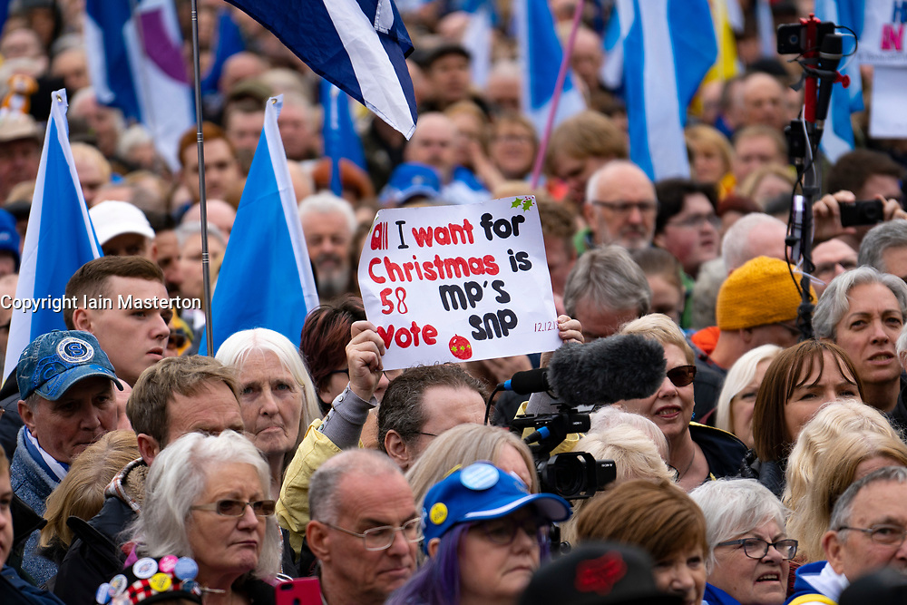 Scotland, UK. 2nd November 2019. Supporters of Scottish nationalism attend a rally in George Square Glasgow. The rally was organised by The National newspaper, the Scottish pro-Nationalism newspaper. First Minister Nicola Sturgeon addressed the rally. Pictured. Sign suggests SNPO have 58 MPs at Scottish Parliament , in fact they have 59 currently.Iain Masterton/Alamy Live News.