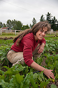 Mature woman in vegetable field on Dancing Roots Farm in Troutdale, Oregon.