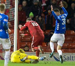 *PREVIOUSLY UNRELEASED IMAGE* Rangers goalkeeper Allan McGregor collides with Aberdeen Lewis Ferguson during the Ladbrokes Scottish Premiership match at Pittodrie Stadium, Aberdeen.