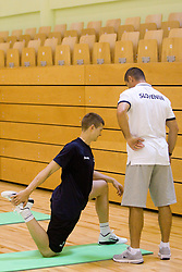 Dino Muric and Tomaz Brinec during practice session of Slovenian National Basketball team during training camp for Eurobasket Lithuania 2011, on July 12, 2011, in Arena Vitranc, Kranjska Gora, Slovenia. (Photo by Vid Ponikvar / Sportida)