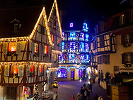 Christmas decorations are a competition between the small towns of the Alsace region of France, and during the day Christmas markets are held beneath them.