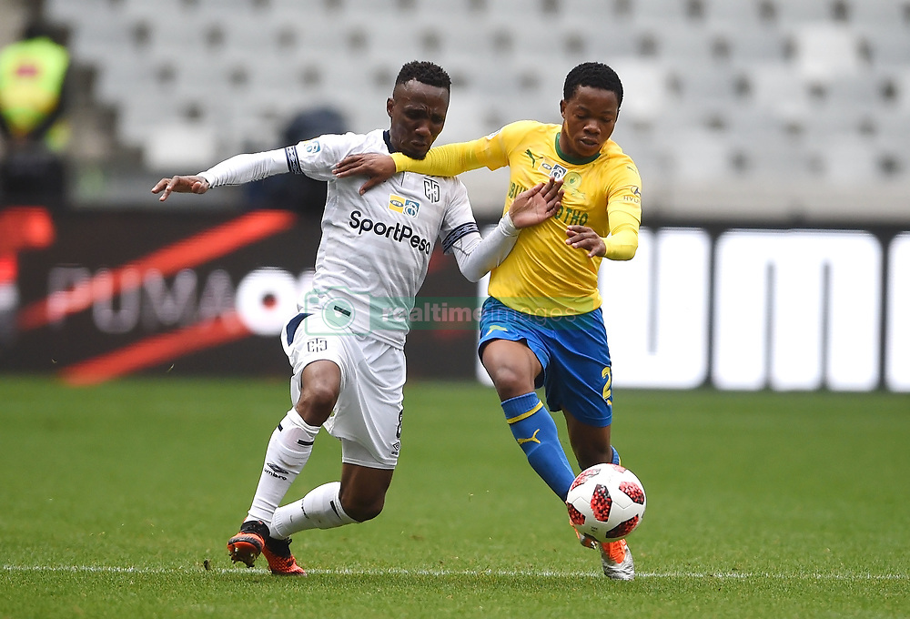 Cape Town-180825- Cape Town City player Teko Modise challenges Mamelodi Sundowns Sphelele Mkhulise  in the MTN 8 semi-final at Cape Town Stadum.Photographer :Phando Jikelo/African News Agency/ANA