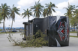 An overturned trailer at Haulover Marina in the Hurricane Irma aftermath on Tuesday, September 12, 2017, in Miami Beach. Photo by David Santiago/El Nuevo Herald/TNS/ABACAPRESS.COM