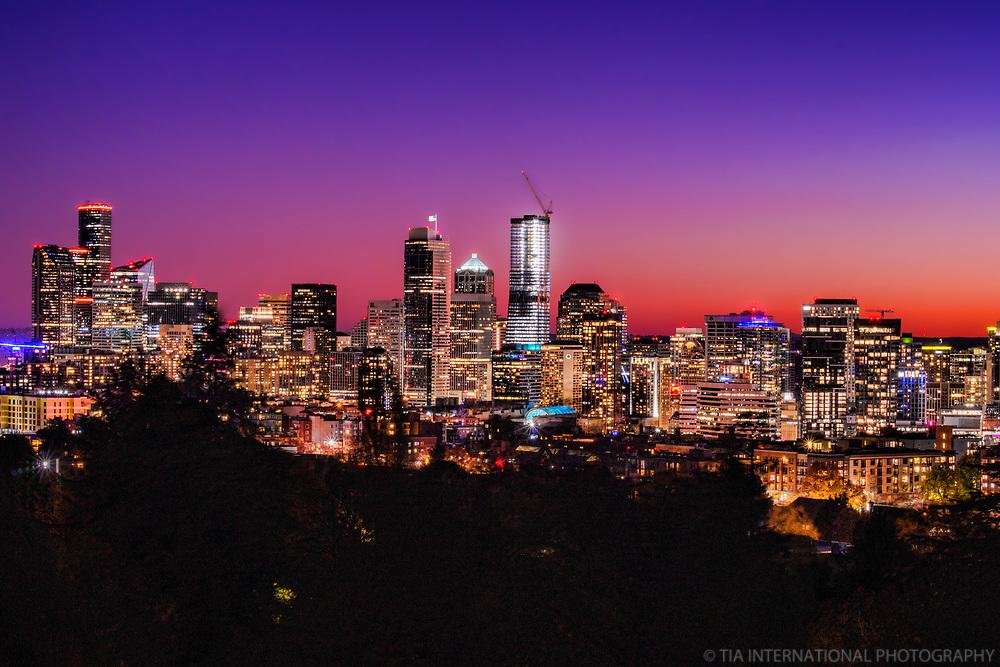 Seattle Skyline (Purple Sky)