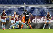 A shot from Celta Vigo's Nemanja Radoja is blocked by Burnley's Phillip Bardsley during the Pre-Season Friendly match between Burnley and Celta Vigo at Turf Moor, Burnley, England on 1 August 2017. Photo by Paul Thompson.
