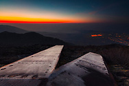 Frosty metal ramps on a mountain hill at dawn