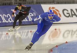 March 9, 2019 - Salt Lake City, Utah, USA - Andrea Giovannini from Italy competes in the 5000m speed skating finals at the ISU World Cup at the Olympic Oval in Salt Lake City, Utah. Giovannini finished with a time of 6:23.23. (Credit Image: © Natalie Behring/ZUMA Wire)
