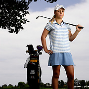ENCINITAS, CA, AUG.1, 2006: MacKinzie Kline suffers from a bad heart after being born with only one ventricle. She does not receive enough oxygen and is fatigued quickly. She battled the United States Golf Association to allow her use of a cart and her oxygen during competition. After initially being denied, the USGA allowed her to use both. She was good enough to gain entry into the U.S. Girls' Junior and the U.S. Women's Amateur championships. She was photographed at her home course Encinitas Ranch in Encinitas, CA on August 1, 2006  (Photograph by Todd Bigelow/Aurora).