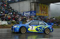 RALLY, 26. OCKTOBER 2003, AUTO - WRC 2003 - RALLYE CATALUNYA - LLORET DEL MAR 20031026 - <br /> NUMBER 7 - PETTER SOLBERG - PHILL MILLS / SUBARU IMPREZA WRC - ACTION<br /> PHOTO: FRANCOIS BAUDIN / DIGITALSPORT