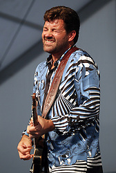 29 April 2012. New Orleans, Louisiana,  USA. <br /> New Orleans Jazz and Heritage Festival. <br /> Tab Benoit, musician and activist, member of the 'Wetlands All Stars.'<br /> Photo; Charlie Varley/varleypix.com