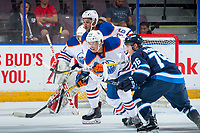 PENTICTON, CANADA - SEPTEMBER 9:Sahvan Khaira #86 of Edmonton Oilers looks for the pass in front of the net against the Winnipeg Jets  on September 9, 2017 at the South Okanagan Event Centre in Penticton, British Columbia, Canada.  (Photo by Marissa Baecker/Shoot the Breeze)  *** Local Caption ***