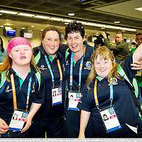 20 June 2011; Coach Ailish Smyth, third from left, with Special Olympics athletes, from left, Ciara O'Loughlin, Inagh, Co. Clare, Eileen O'Loughlin, Rathanghan, Co. Kildare and Amy Quinn, Bray, Co. Wicklow, Team Ireland, sponsored by eircom, who departed for 2011 Special Olympics World Summer Games in Athens. A total of 126 athletes from Ireland will compete at these prestigious Games which will run from 25th June - 4th July. To follow Team Irelandís progress at the Games please visit www.specialolympics.ie/athens. Dublin Airport, Dublin. Picture credit: Ray McManus / SPORTSFILE