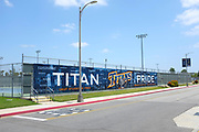 Titans Pride Banner on the Tennis Courts Fence on Campus at California State University Fullerton