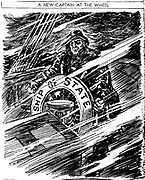 Cartoon depicting US president Franklin Roosevelt  steering the 'ship of state' through the rough seas of the economic depression in the mide 1930's.
