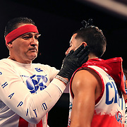 NEW ORLEANS, LA - JULY 14:  Jean Carlos Rivera fights Angel Luna during the Regis Prograis v Juan Jose Velasco ESPN boxing match at the UNO Lakefront Arena on July 14, 2018 in New Orleans, Louisiana.  (Photo by Alex Menendez/Getty Images) *** Local Caption *** Jean Carlos Rivera; Angel Luna