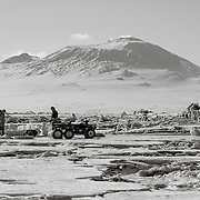 Dive site with Mount Erebus Volcano in background. Notice the extremly rough condition of the years old sea ice